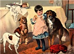 VICTORIAN ART: GIRL & DOGS