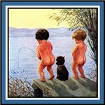 VINTAGE DOG ART: BOYS WILL BE BOYS