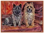 VINTAGE DOG ART: TWO CAIRN TERRIERS