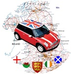 UK Map with Mini Cooper