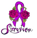 Survivor Ribbon Tattoo with Roses