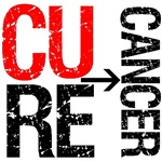 Cure Cancer Red Grunge Gear, Shirts & Gifts