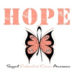 Hope Butterfly Endometrial Cancer Shirts &amp; Gifts