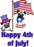 Adorable 4th of July Pugs with Flag
