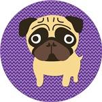Pug on Purple Chevron