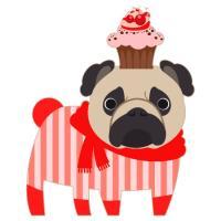 Valentine Cupcake Pug