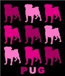 Pink Pugs on Black