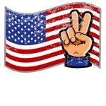 Peace Hand w/ Flag T-Shirts