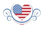 Scrolls Encasing USA Flag Heart T-Shirts