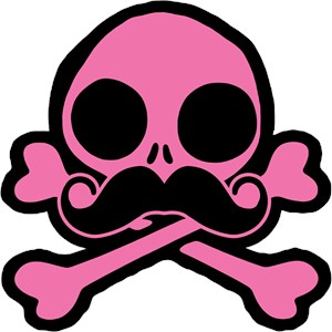 Pink Skull With A Moustache