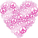 Pink Peace Heart T-shirts