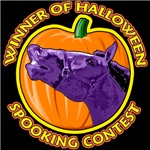 Winner of Halloween Spooking Contest. Funny horse