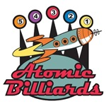Retro Atomic Billiards Pool Hall Sign