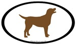 Chocolate (Brown) Lab Oval Stickers