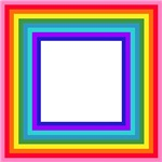Rainbow Stripes in Square Frame