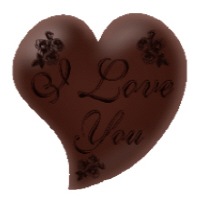 <B>I Love You Chocolate Heart T-Shirts Apparel and