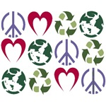 PEACE~LOVE~RECYCLE~EARTH(4 DESIGNS)