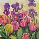 Purple Irises and pink tulips