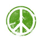 Green Distressed Look Peace Symbol