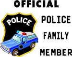 "Official Police Family Member Tee's and Gifts Police badges and cop cars on our ""official"" police family member"