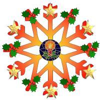 Cheerful Orange and Green Snowflake
