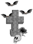 Halloween Tombstone and Bats