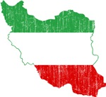 Iran Tri Color Flag And Map