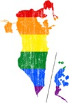 Bahrain Rainbow Pride Flag And Map