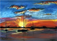 Sunsets, Seascapes, Beaches, Sailboats