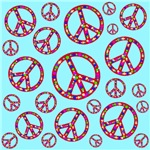 Peace Symbols Mosaic Skyblue