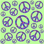 Peace Symbols Mosaic Jade