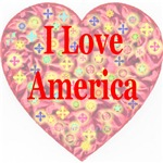 I Love America Pink StarBurst Heart