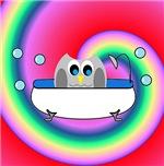 Owl In Tub (Rainbow Wave)
