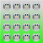Cute Owls (Green Tiled)