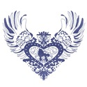 Poodle Blue Winged Heart