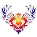 American Eskimo Rainbow Winged Heart