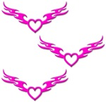Tri-Hot Pink-Winged Heart