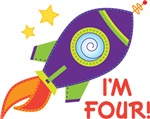 Fourth Birthday Space Rocket Toddler Tees