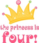 Princess Is Four 4th Birthday Girls Tee Shirts