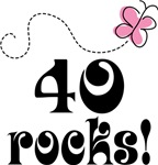 Cute 40 Rocks 40th Birthday T-shirts
