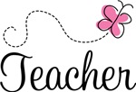 Cute Teacher Pink Butterfly