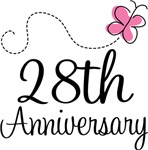 28th Anniversary Pink Butterfly Keepsake Gifts