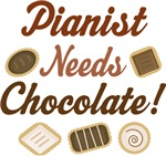 Funny Pianist Needs Chocolate T-shirts