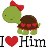I Heart Him Couples Turtle T-shirts