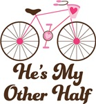 He's My Other Half Couples Bicycle Design Love Tee