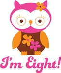 8th Birthday Owl Retro Tees For Kids