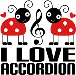 I Love Accordion Ladybug T-shirts