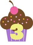 3rd Birthday Cupcake Kids Tees