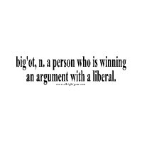 Bigot: a person winning an argument with a liberal