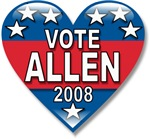 Vote George Allen 2008 Political T-shirts & Gifts